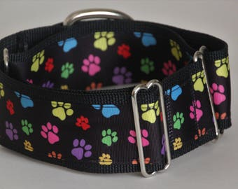 "Greyhound - Multicoloured Paw Prints on Black 2"" Martingale Collar"