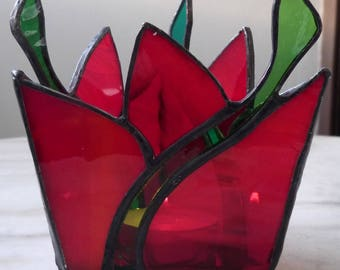 Red and green stained glass candle