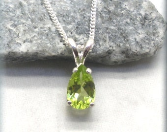 Pear Cut Peridot Necklace, August Birthstone, 925 Sterling Silver, August Birthday, Genuine Gemstone, Peridot Pendant, Natural Peridot Stone