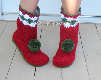 Crochet Pattern 147 Crochet Boot Pattern for Women's Christmas Boots Slipper Pattern Boots Adults - Christmas Gift - Pom-Pom Red Boots