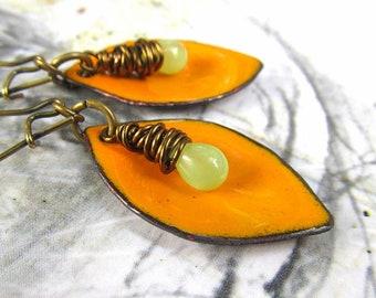 Boho earrings enamel earrings orange earrings Summer Bohemian jewelry