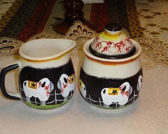Primitive Sheep Stoneware Sugar And Creamer Set,, Primitive Decor,, Kitchen Decor,, Home Decor,, Sheep Decor,,