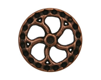 2 Steampunk Flywheel 5/8 inch ( 15 mm ) Metal Buttons Antique Copper Color
