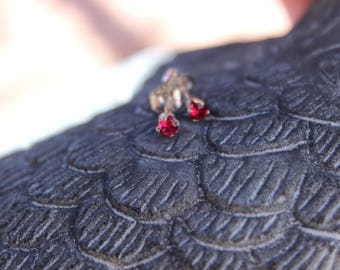 January Birthstone Gift, 3mm Garnet Stud Earrings, Sterling Silver, Round Cut Gemstone, January Birthday Gift