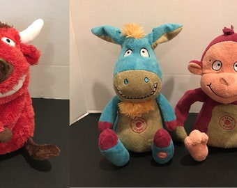 Hallmark Sound & Motion Lot El Toro Red Bull Tickle Here Donkey and Monkey Plush
