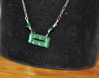 Green Square Crystal Necklace on Sterling Silver Chain