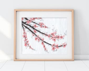 Cherry Blossom Art, Cherry Blossom Painting, Spring Decor, Tree Art, Spring Art, Wedding Gift Art, Wedding Gift, Home Wall Art, home Decor
