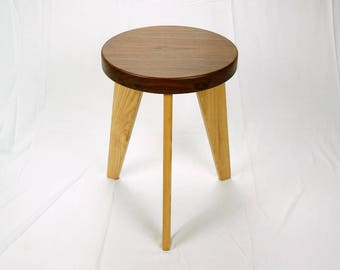 Modern Milkman - Three Legged Walnut Stool with Ash Legs