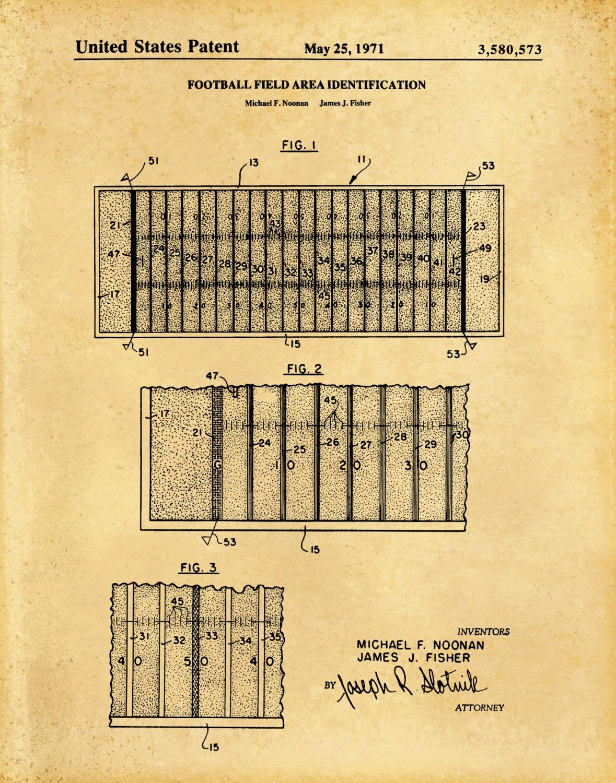 1971 Football Field Layout Patent - Art Print Poster - Sports Wall ...