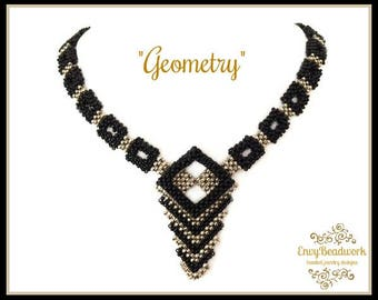 """Beading pattern  """"Geometry"""" Necklace in  English   D.I.Y"""