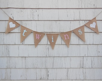 Twins Baby Shower Decor, Twins Banner, Twins Bunting, Twin Girls Boys, Burlap Garland, Pregnancy Photo Prop, New Baby, Rustic Shower Decor