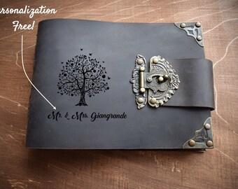 Leather photo album/Free engraving photo album/Leather memory book/Handmade wedding photo album/Black pages album/A5 photo album