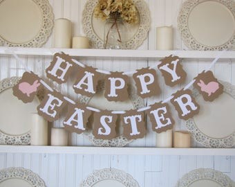 HAPPY EASTER Banner Easter Decoration Happy Sign Spring Decor