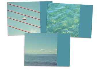 "3 Postcards ""SummerHoliday"" - postcard card photography photo ocean water beach wave pool summer holiday sky cloud"