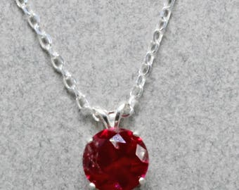 10mm Red Manmade Ruby Set in Sterling  Silver Mounting Handmade necklace Sterling Silver Chain 24 Inch Chain Oscarcrow