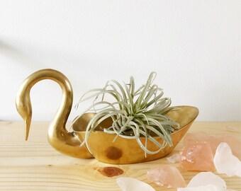 Mid century solid brass swan dish ring bowl jewlery dish/ hollywood regency brass swan/ vintage brass swan planter