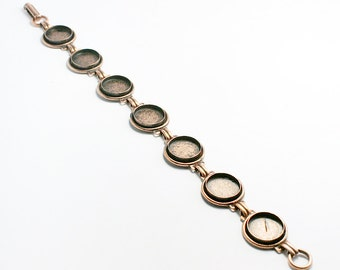Blank Bezel Bracelet with 12mm Bezels, Sturdy Copper Plated Bracelet  with 7 Blanks, Made in USA, #N153