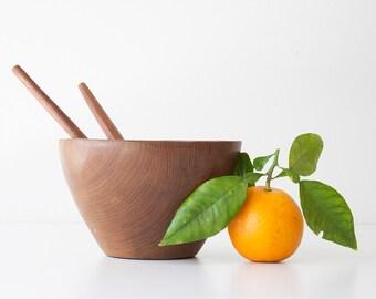 Vintage Danish Modern Teak Salad Bowl & Utensils - Small