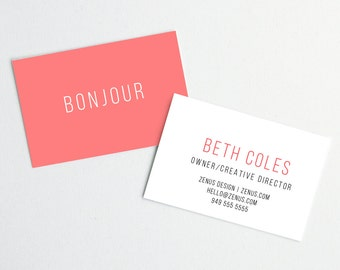 Coral Hello Business Cards // DIY Business Cards // Printable Business Cards // Instant Download Business Cards // WORD FILES