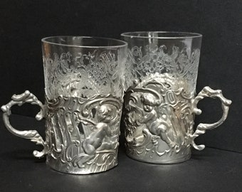 Pair of Antique Silver and Etched Glass Tot Glasses