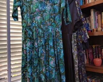 Blue Roses! Vibrant vintage watercolor 50's Mad Men secretary dress, size s/m!