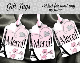 12 Favor Tags, Gift Tag, Pink & Black, French Poodle, Paris Eiffel Tower, Merci, Thank You, Wedding, Bridal Shower, Baby Shower, Birthday