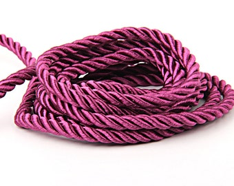 Cherry Blossom, Twisted Satin Rope, Twisted Silk Cord, Upholstery cord, 1 meter // CRD-018