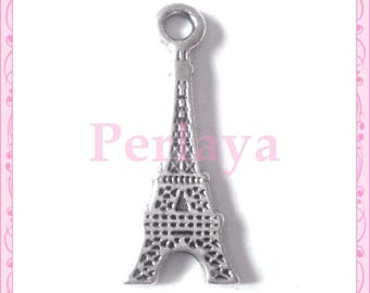Set of 15 REF083X3 silver eiffel tower charms