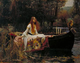 John William Waterhouse The Lady of Shalott Painting Fine Art Poster Reprint A3 A4