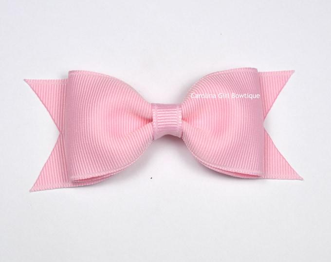 "Light Pink Tuxedo Bow  ~ 3.5"" Hairbow ~ Small Hair Bow ~ Girls Barrette ~ Toddler Bow ~ Baby Hair Bow ~ Hair Clip ~ Girls Hair Bow"