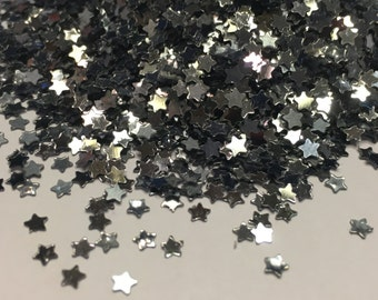 tiny dark silver star confetti / sequins, 3 mm (23)M