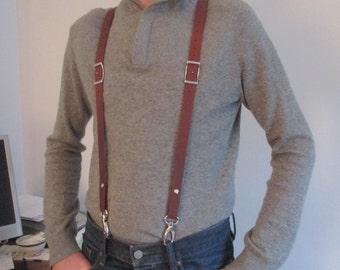 """SLIM men suspenders full calfskin leather """"snap hooks type"""""""