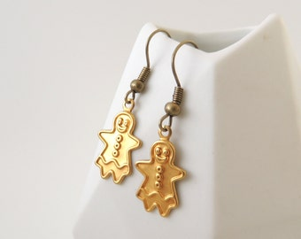 Cute Gingerbread Women Earrings -- Small Brass Charm Drops -- Quirky Design -- UK Seller