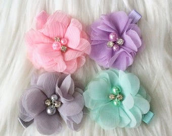 Set of 4 Flower Hair Clips, Baby Girl Hair Clip, Baby Hair Clip, Toddler Hair Clip, No Slip Hair Clips, Girls Hair Clips, Girls Hair Bows