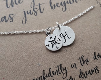 READY TO SHIP . Compass Necklace . Graduation Gift . The Journey Has Just Begun Necklace  .  inspirational necklace