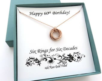 60th Birthday, Rose Gold Necklace, 60th Birthday Gift for Women, 14k Rose Gold Filled, 60th Birthday Gift for Mom, Six Rings, MarciaHDesigns