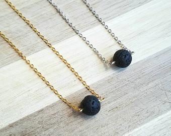 Round Lava Rock Aromatherapy Necklace // Essential Oil Diffuser Necklace // Lava Rock Necklace // Minimalist Necklace // Yoga Necklace