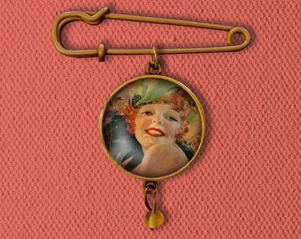 Pin-up Girl Pin, Magnet, Keychain, or Necklace