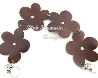 Leather Plumeria Bracelet, Floral Jewelry, Wearable Art Jewelry, Casual Chic Bracelet, Lightweight Statement Bracelet