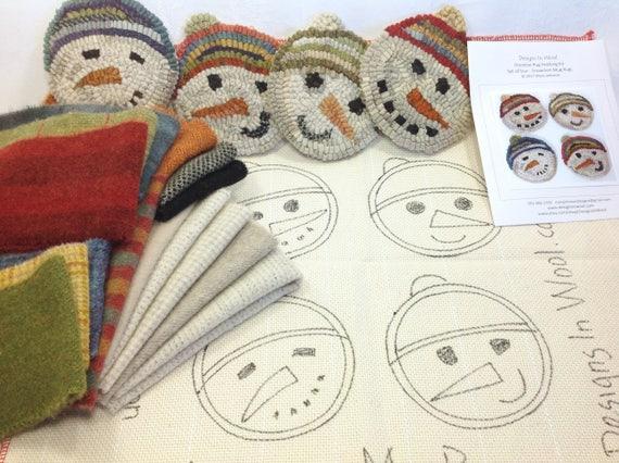 Wool Pack OR Pattern with Wool Pack, Snowmen Mug Rugs,  WP215, DIY Rug Hooking, Christmas Coasters, Snowman Wool, Winter Rug Project