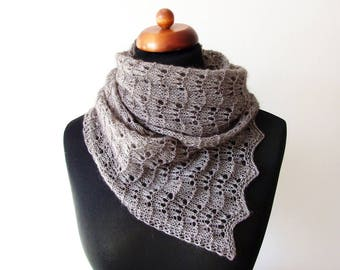 brown lace scarf, handknit mohair scarf
