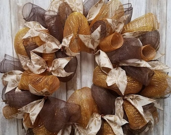 Gold and brown christmas wreath