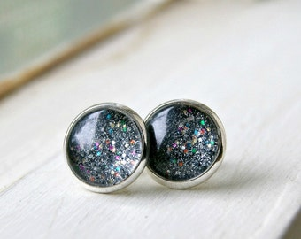 black ice sparkle silver plated post earrings, stud earrings, gift for her