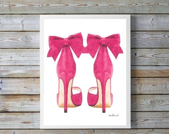 Pink fashion watercolor shoes, high heels, fashion illustration, shoe art, shoe art, high heels, fashion print, fashion art, gift, bow, art