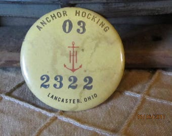 Vintage Anchor Hocking Employee Number Id Badge Lancaster Ohio Pin