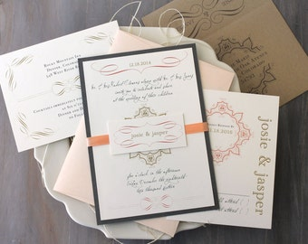 "Peach Wedding Invitations, Peach, Ivory, Gray, Taupe, Elegant Gold Wedding Invites - ""Peaches & Cream"" Sample"