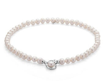 Anniversarry Classic Freshwater Pearl Necklace With Silver Swan,Handmade to Order,Custom Length,Mother's Day Gift for Her,June Birthstone