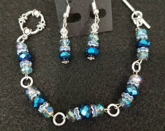 Beaded bracelet with matching earrings
