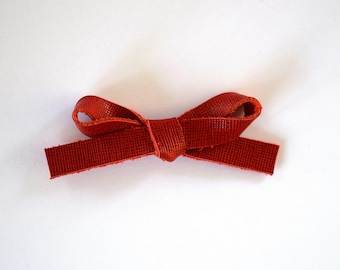 Red Woven LARGE Leather Bow Clip Photo Prop for Newborn Baby Little Girl Child Adult Holiday Valentines Day Pictures Clip for Little Girls