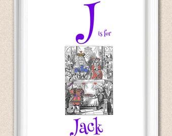 Nursery Art Alphabet Print Alice in Wonderland J is for Jack A095